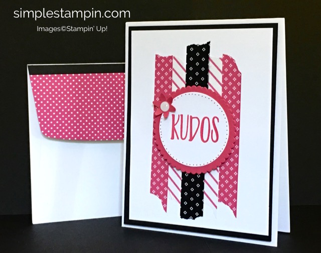 Stampin' Up! Perfectly Wrapperd Clean & Simple Card using the Pop of Pink Washi Tape, Layering Circles, Susan Itell-stampinup