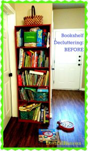 Bookshelf decluttering before