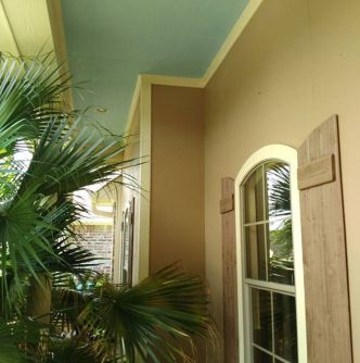 Front porch with blue ceiling