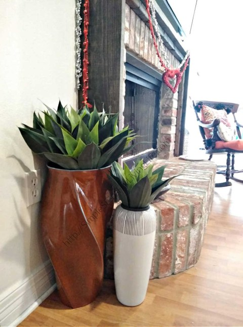 Livening up our living room with artificial plants