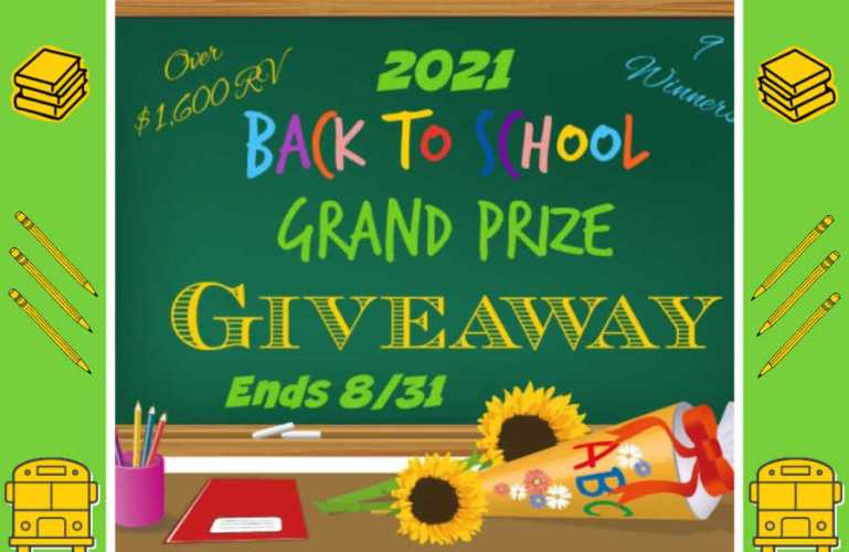 2021 Back to School Grand Prize Giveaway ends 8/31/2021