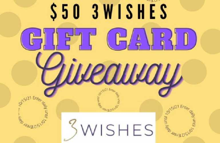 $50 @3WISHES_COM Gift Card Giveaway (Ends 10/15)