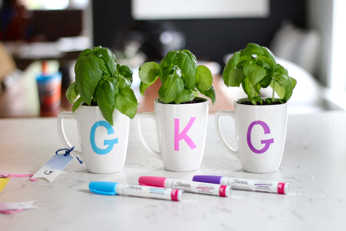 Last Minute DIY Teacher Gift Idea Monogram Mugs