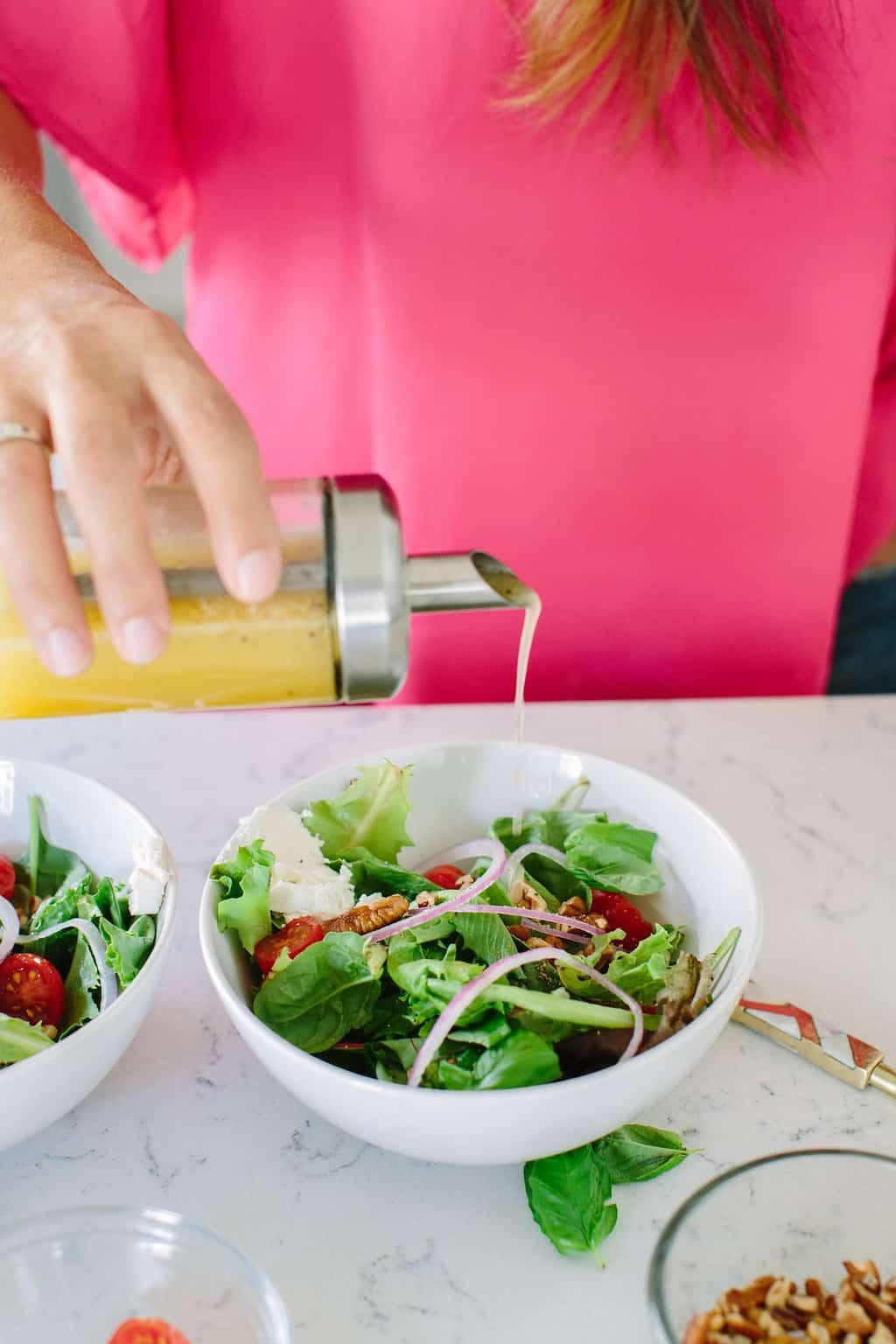 Citrus-Honey-Vinaigrette-Salad-Dressing-pour