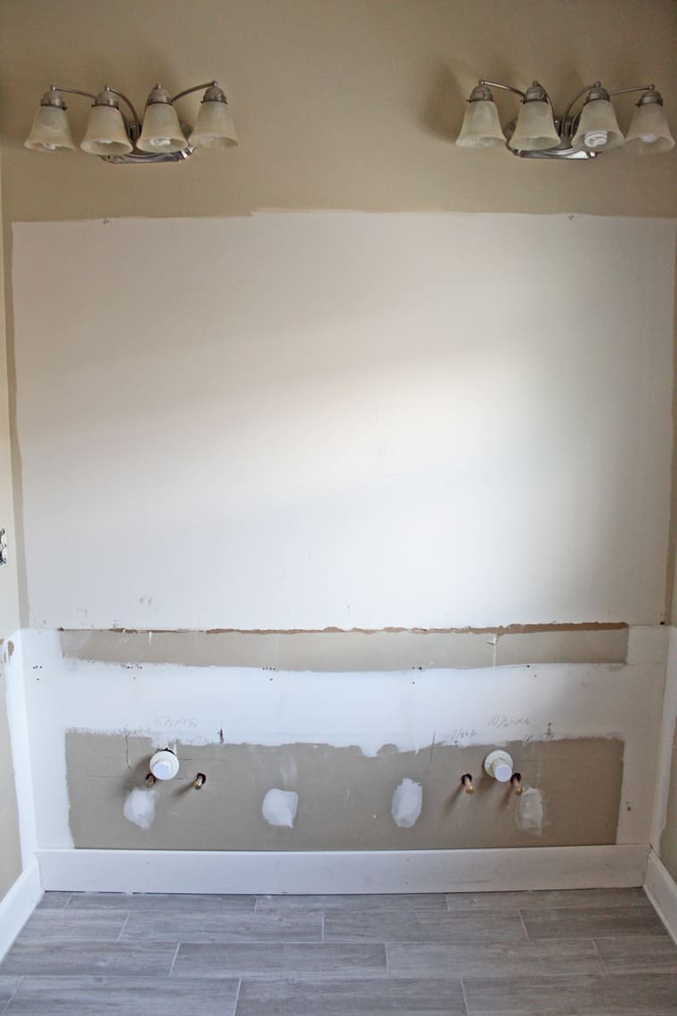 Our Master Bathroom Renovation Progress Report shiplap wall before
