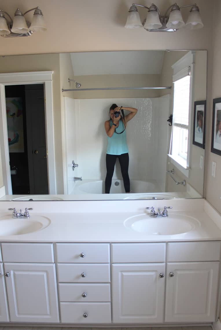Our Master Bathroom Renovation Progress Report before mirror