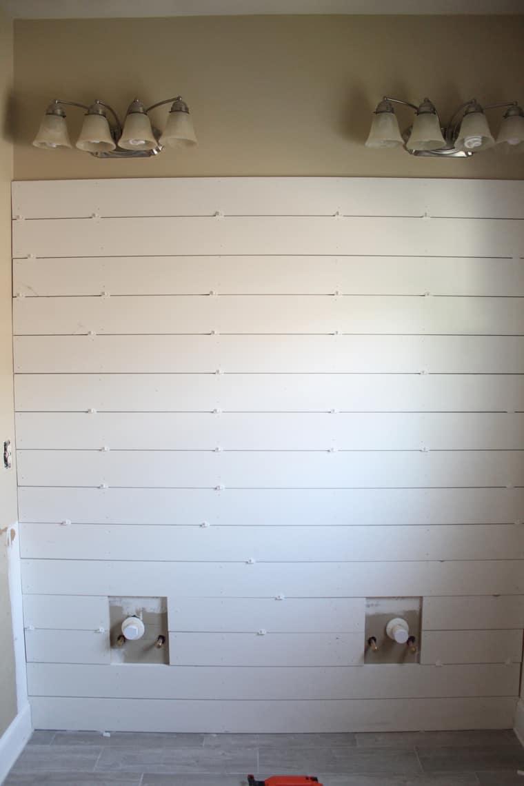 Master Bathroom Renovation Diy Shiplap Wall Tutorial