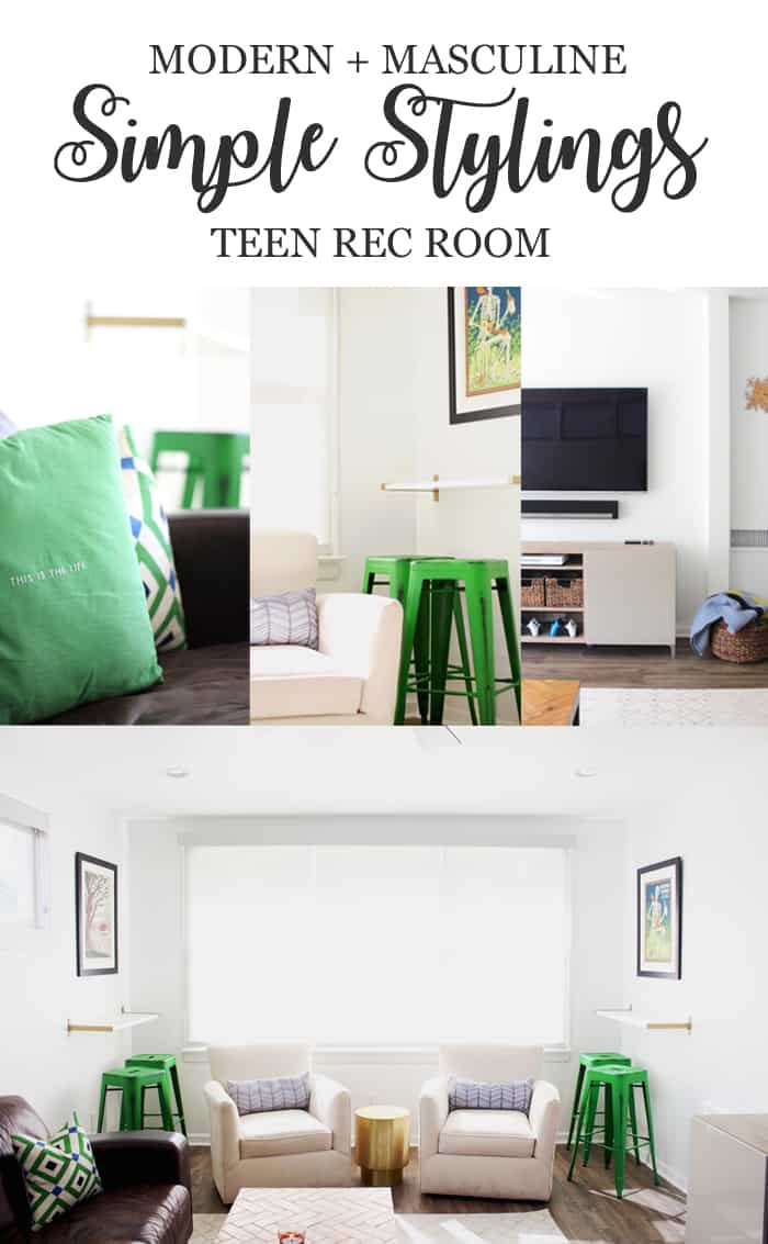 A Modern + Masculine Teen Rec Room Reveal Pin