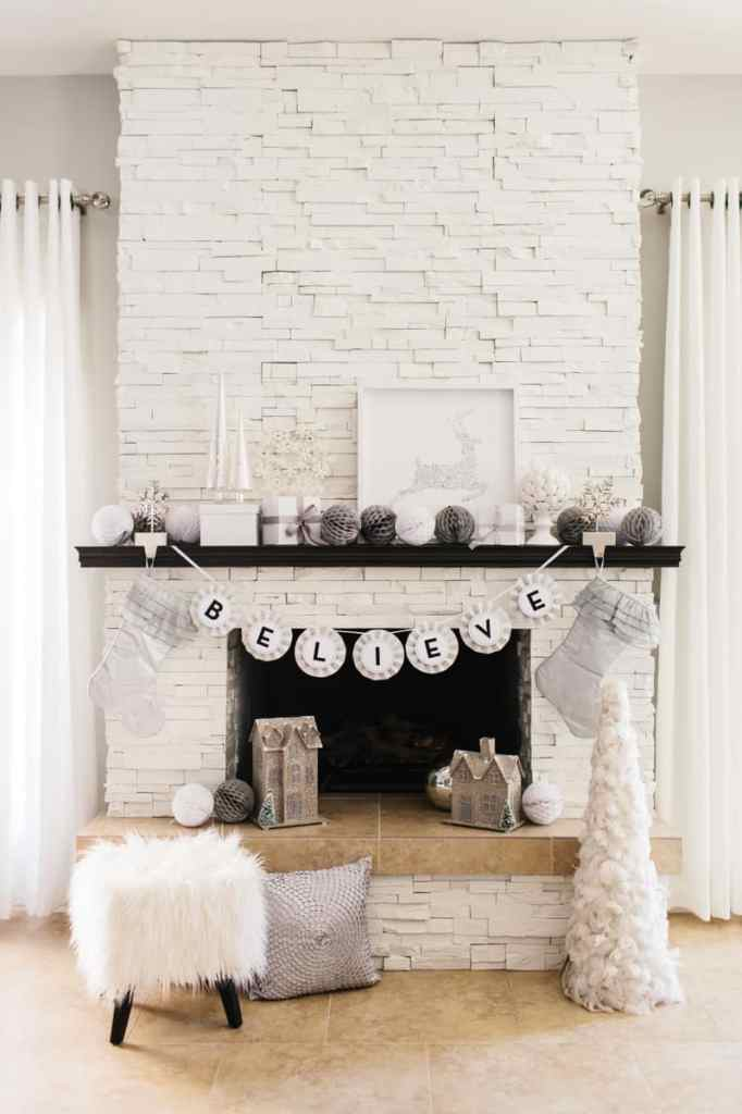 To Paint Or Not To Paint? Stone Tile Fireplace + More all white