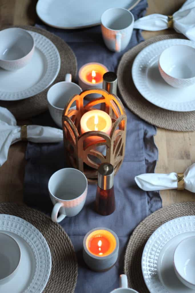 At Home Fall Tablescape candles