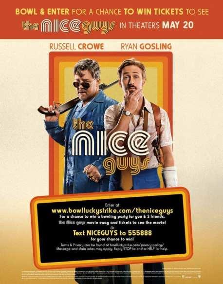 "Enter ""The Nice Guys"" movie sweepstakes via text message"