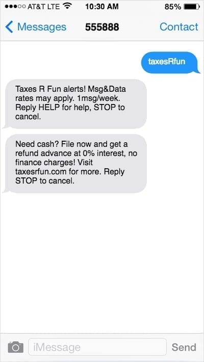 iPhone screens with text marketing message offering cash advance