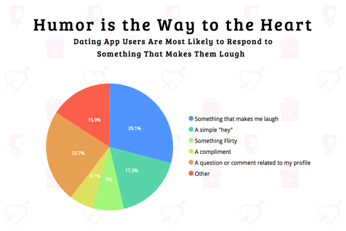 Pie chart showing what dating app users are most likely to respond to