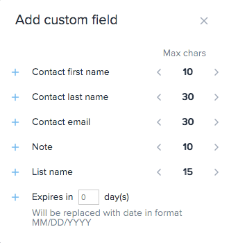 Custom fields popup screen inside SimpleTexting message dashboard