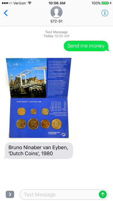 iPhone screenshot showing a 1980 Bruno Ninaber artwork of a set of Dutch coins