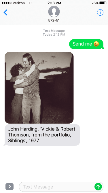 iPhone screenshot showing a 1977 John Harding artwork of a man and a woman embracing, black and white color