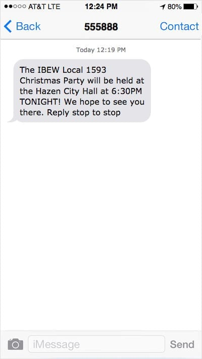 iPhone screenshot showing a text message reminder about a local union Christmas party