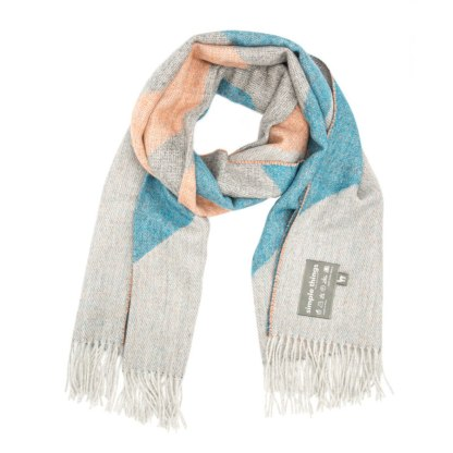 SKI orange teal XL scarf