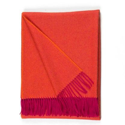 Herringbone Pink Orange Throw