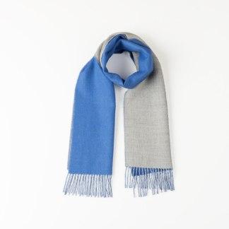 Double-Face Blue Light Grey Scarf