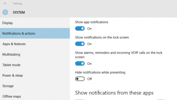 Managing notifications in Windows 10
