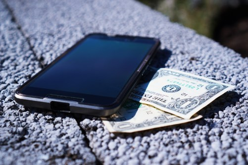 Buy Mobile Phone Save Banknotes Expensive Money