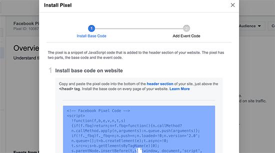 Copiez le code Facebook Pixel