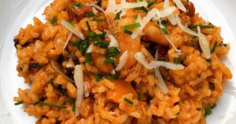 Risotto With Chorizo and Prawns