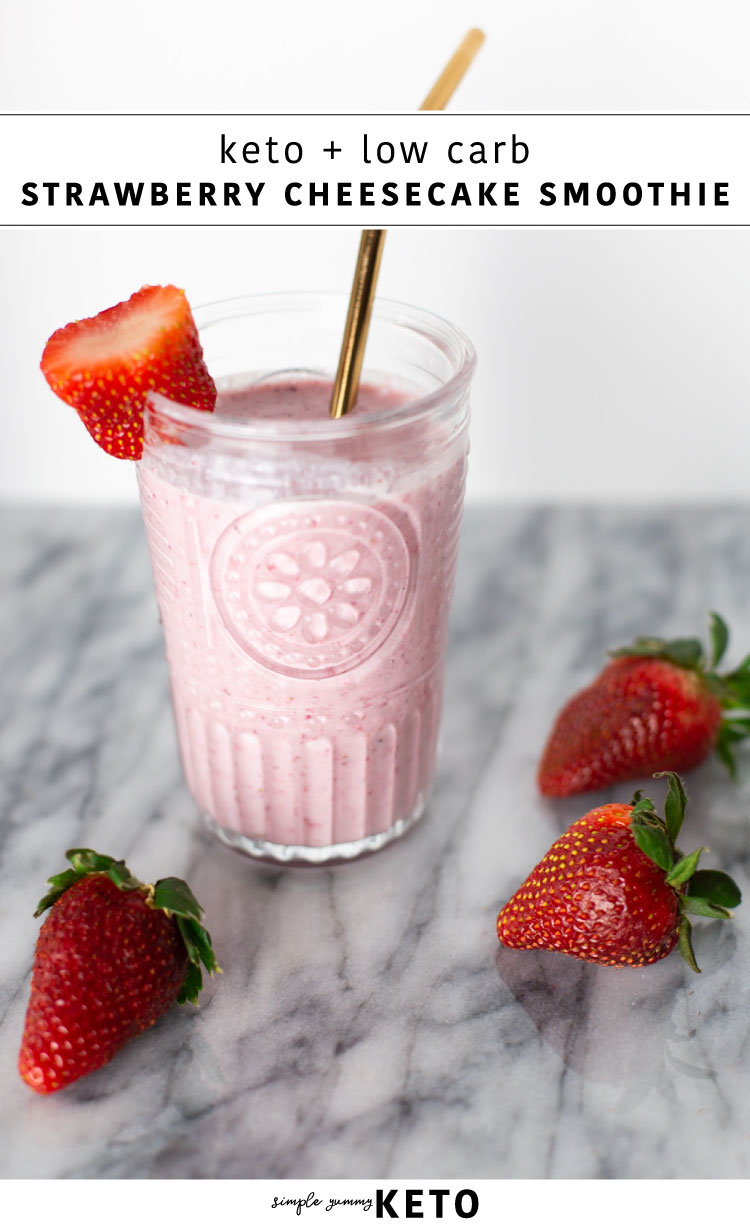 low carb and keto strawberry cheesecake milkshake dessert recipe