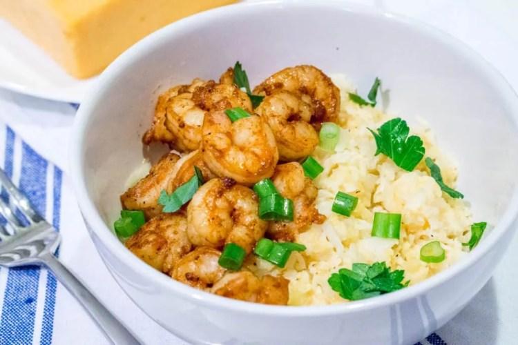 shrimp and cauliflower grits recipe - 30 minute keto dinner recipes