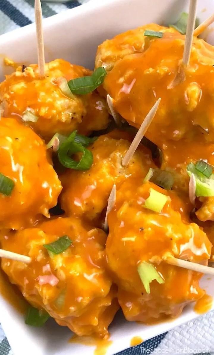 buffalo chicken meatballs - 30 minute keto dinner recipe