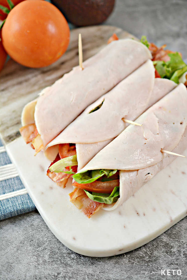 low carb and keto turkey blt roll ups