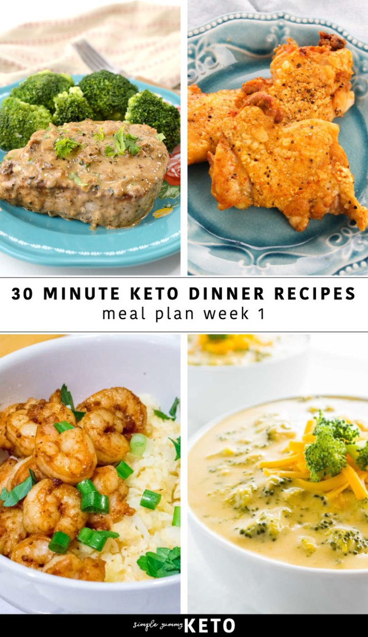 30 minute keto dinner recipes - a free weekly keto meal plan