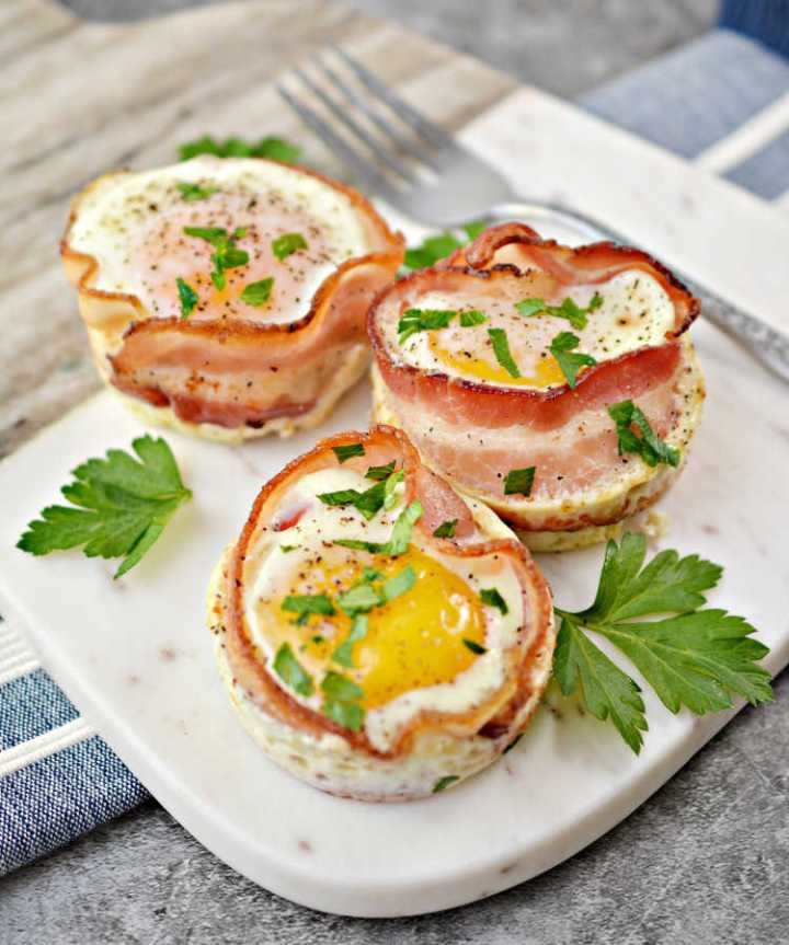 keto bacon sausage egg cup recipe great for meal prep and breakfast
