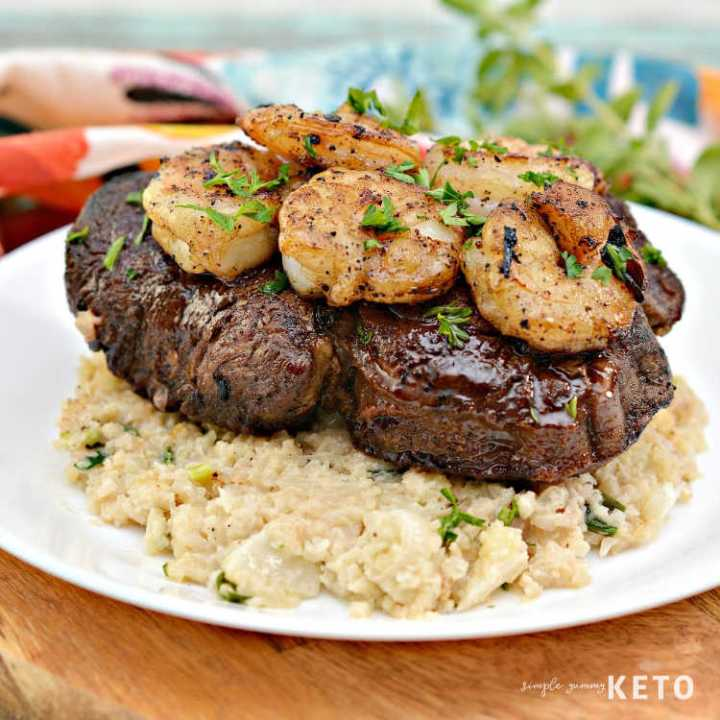 keto steak and shrimp with risotto recipe