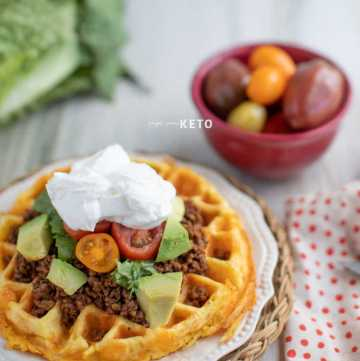 Keto and low carb taco chaffle inspired by fry bread
