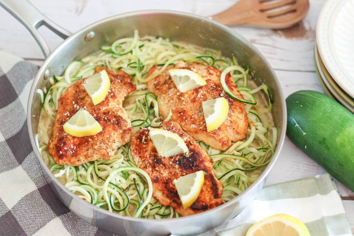 lemon garlic chicken and zoodles