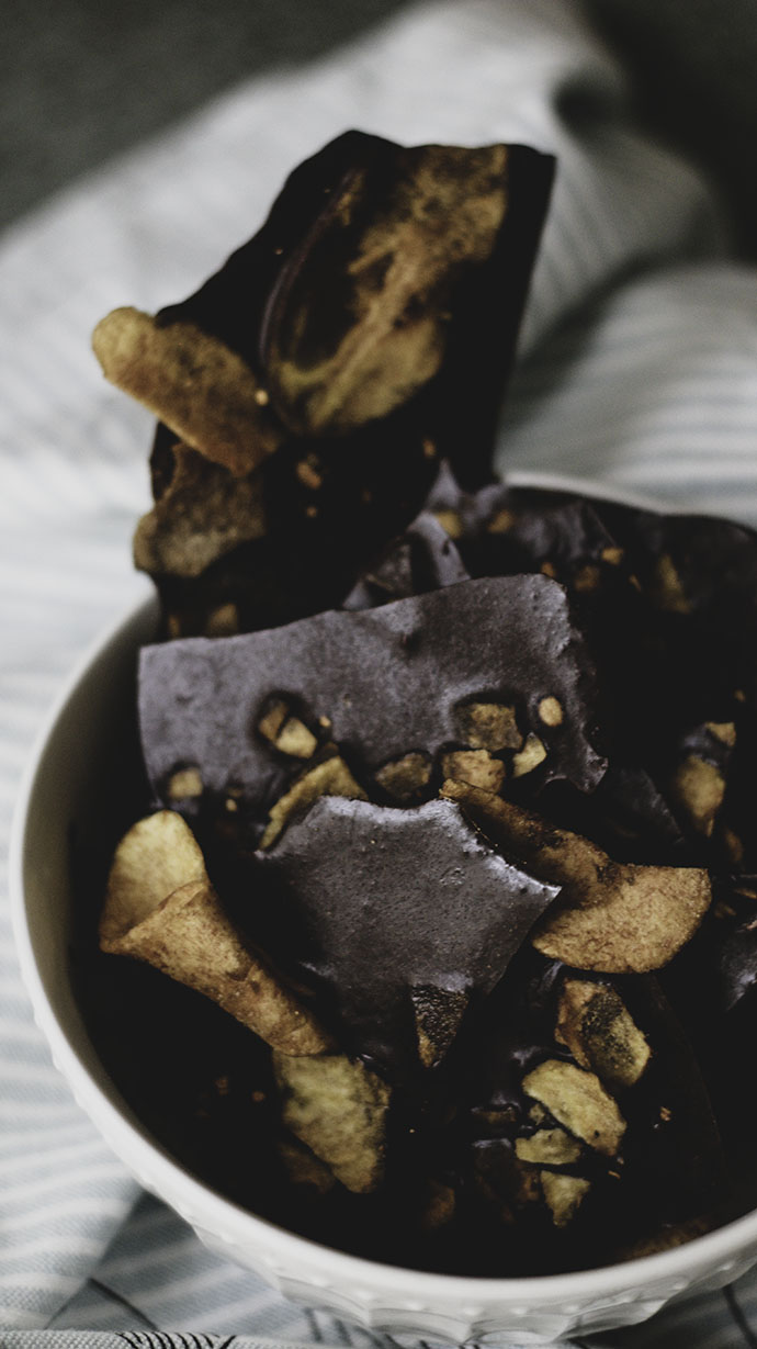 "aip ""chocolate"" bark with ginger & plantain chips"