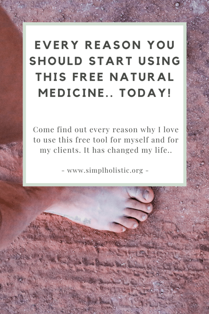 "Text over a background of red dirt with feet in it saying ""every reason you should start using this free natural medicine, today + positive effects of grounding on inflammation!"""