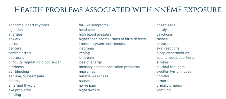 """A photo with a long list of conditions associated with non native electromagnetic frequencies (nnemf) talking about """" what are EMFs """""""
