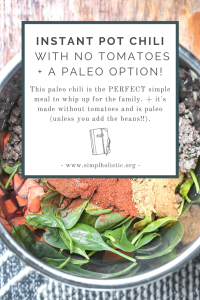 instant pot tomato free chili with a paleo chili option