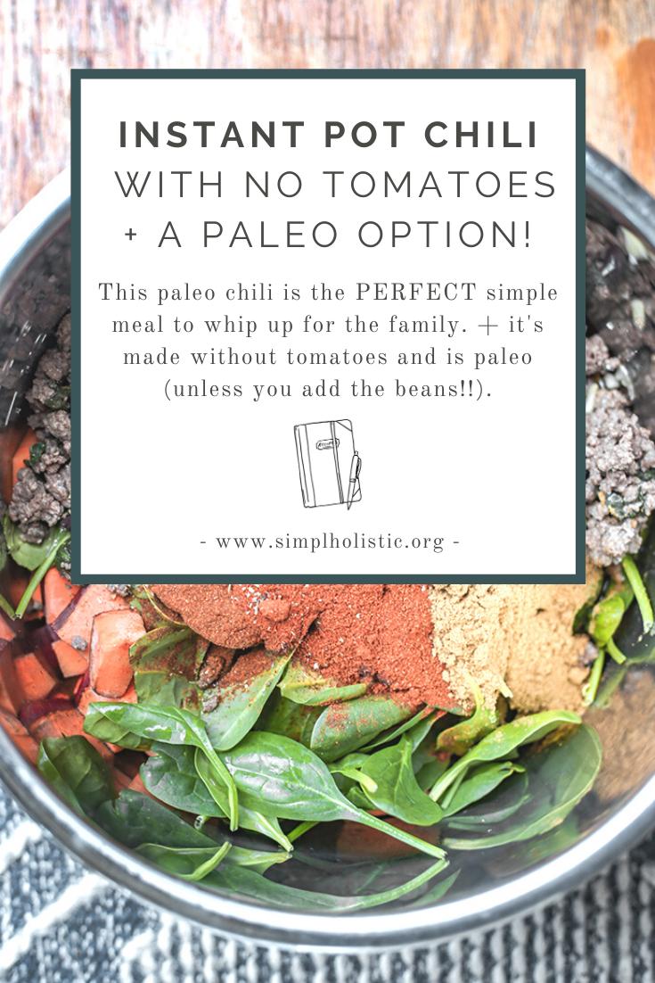 instant pot tomato free chili with a paleo chili option