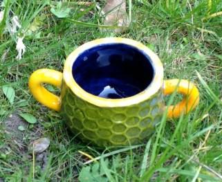 Bright colored childrens mug