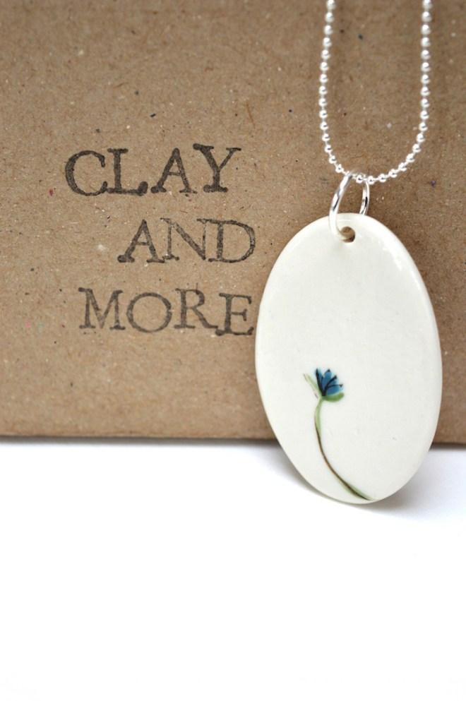 ketting porselein bloem blauw juwelen clayandmore