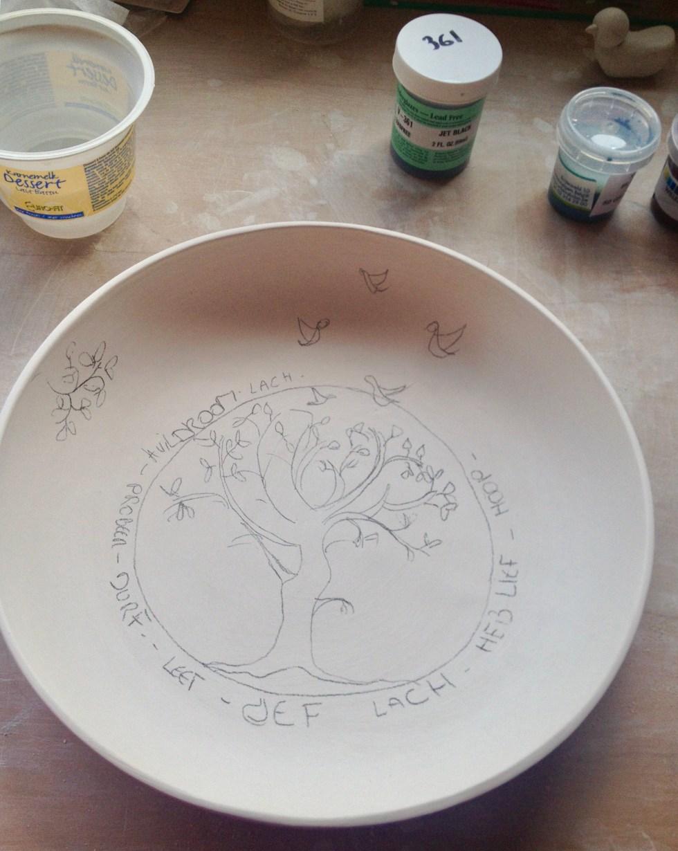 tekening een handgemaakt gepersonaliseerd keramiek bord met een wensboom als kraamcadeau of geboortegeschenk. Personalised plate as gift for newborn.