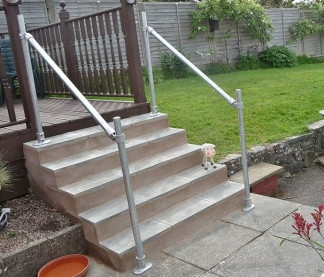 Buy Outdoor Handrail Kits For Your Home And Garden Simplified | Wooden Handrail For Garden Steps | French Door Garden | Garden Stair | Landscape | Outside Step | Outdoor Near Me Step