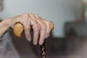 old woman cane