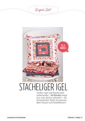 Naehanleitung Igel Quiltset Patchwork 0615