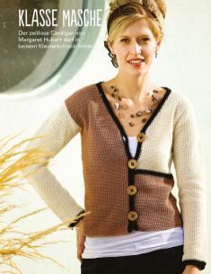 Häkelanleitung braun-weißer Cardigan Fantastische Häkel-Mode-Ideen 0515