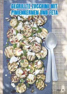 Rezept - Gegrillte Zucchini mit Pinienkernen und Feta - Simply Kochen Mediterran 05/2018